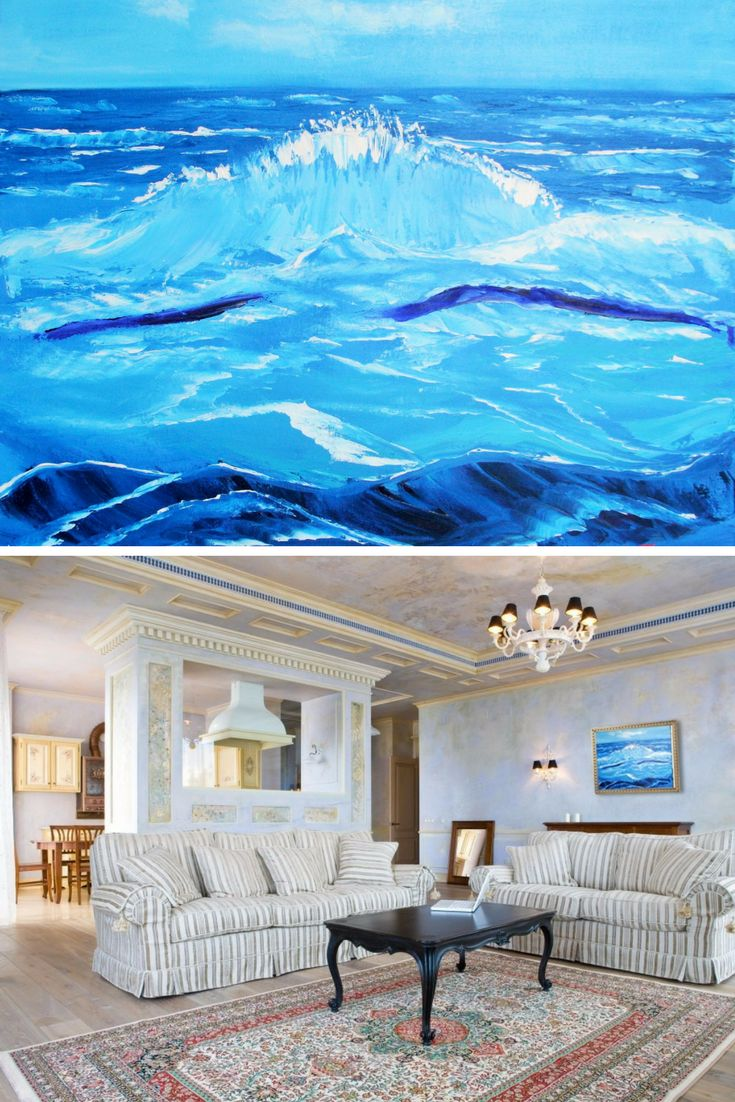 """""""Sea landscape"""". Original oil painting on canvas. Home Decor. Perfect Gift. Wall Decor. Wall decoration. Landscape Painting. 2015. Performed in trendy palette knife technique. 20"""" х 24"""". 50,8х61 cm. Unframed. AVAILABLE FOR IMMEDIATE PURCHASE. Ready to hang.  This is an ORIGINAL oil painting on a wrapped stretched canvas.   The materials I use, including canvases, paints and mediums are permanent and of professional quality. As far as only lightfast pigments are employed in those paints…"""