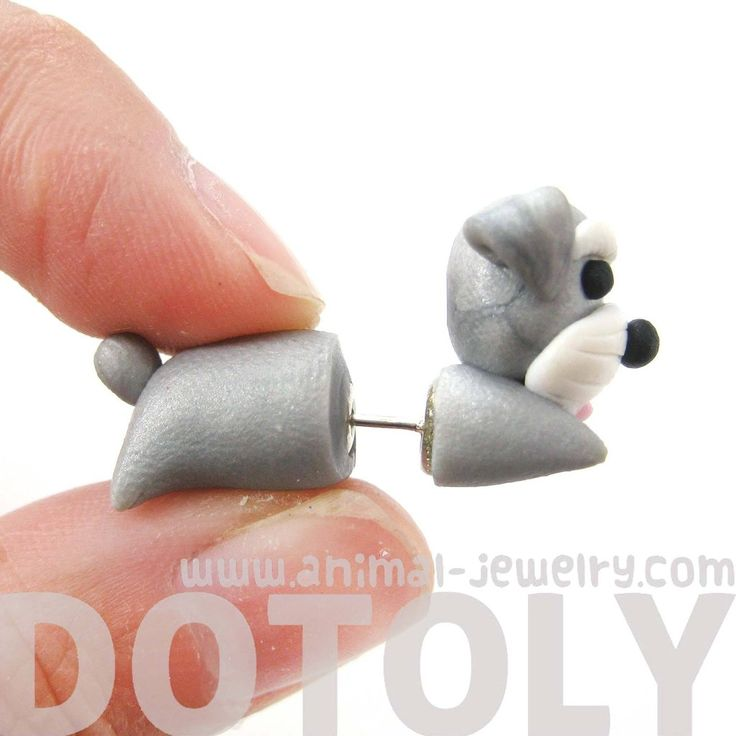 handmade-cesky-terrier-puppy-dog-shaped-fake-gauge-polymer-clay-stud-earring