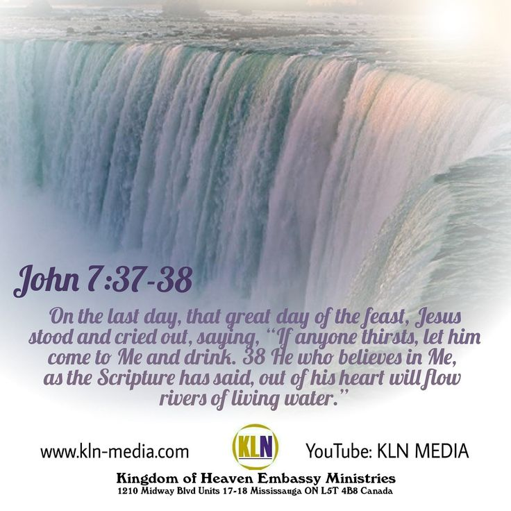 "Kingdom Living Now  John 7:37-39 NKJV 37 On the last day, that great day of the feast, Jesus stood and cried out, saying, ""If anyone thirsts, let him come to Me and drink.  38 He who believes in Me, as the Scripture has said, out of his heart will flow rivers of living water.  39 But this He spoke concerning the Spirit, whom those believing in Him would receive; for the Holy Spirit was not yet given, because Jesus was not yet glorified."
