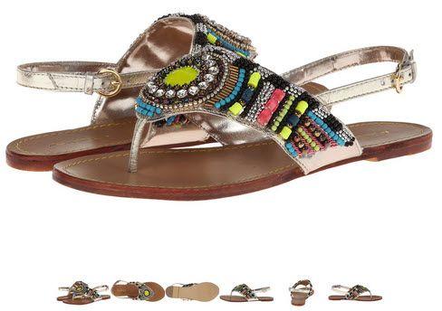Sandale de vara fara toc aurii din piele - model etnic by ALDO Legeriwiel. Sunt ideale pentru vara asta..in concediu!