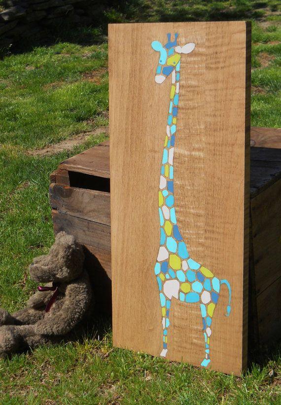 Giraffe, Painting on wood, Nursery art, Kids room art, Nursery decor, Jungle theme,  whimsical wall art, art for kids room, unique