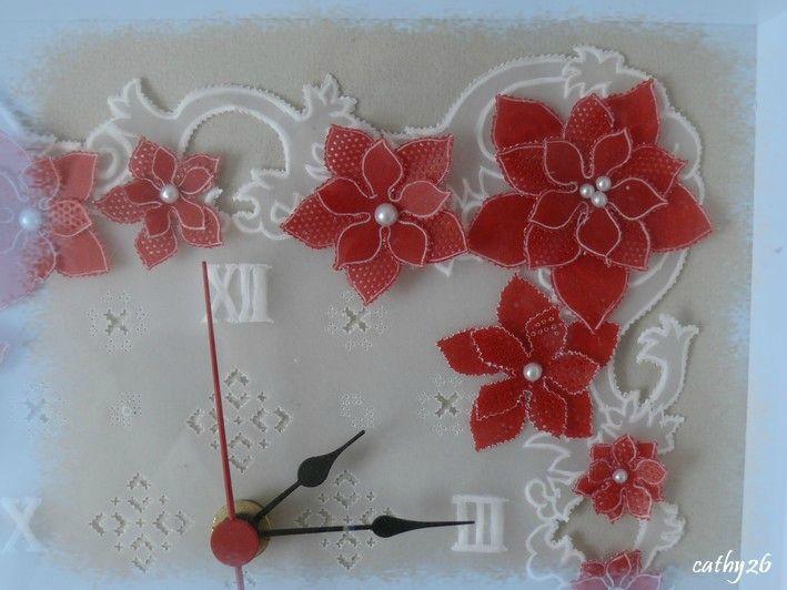 Pendule en Pergamano blanche et rouge