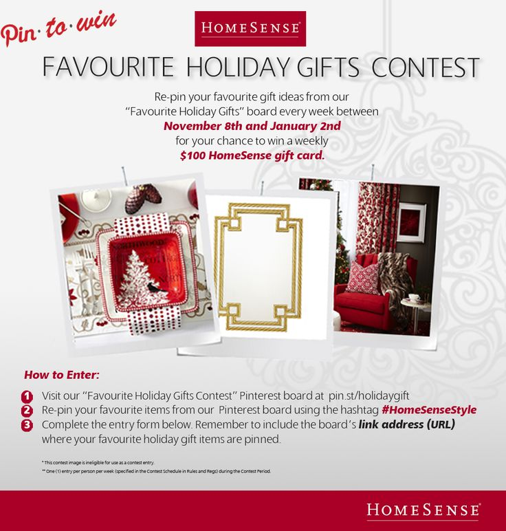 Enter Contest here http://www.homesense.ca/en/pinterest-contest.asp . Remember to include the link address (URL) to the board featuring your pins!