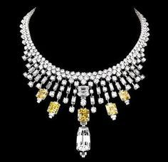 Cartier yellow and white diamond necklace
