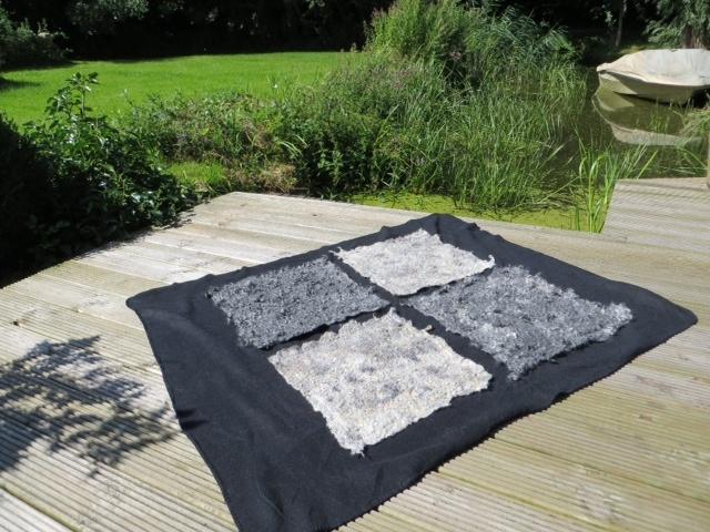 Plaid van fleece met vilt van Gotland en Finull wol