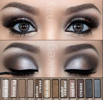 By Cristina Underwood. Get the look! Follow the steps on the photo using Urban Decay's Naked Palette. Finish with gel eyeliner in black, mascara and falsies.