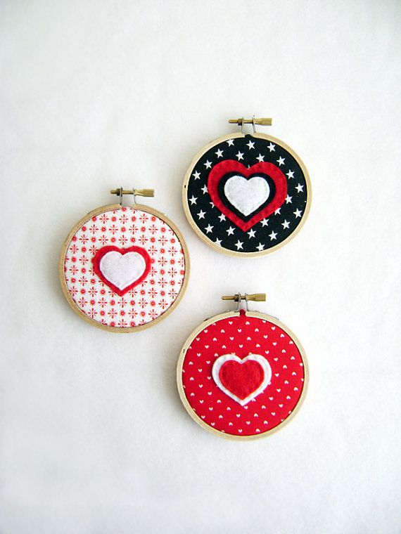 felt heart embroidery hoop art
