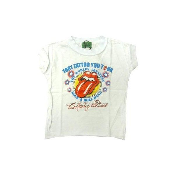 Rolling Stones Tattoo Tour ❤ liked on Polyvore featuring tops, shirts, white top, shirt top, tattoo top, white shirt and logo shirts