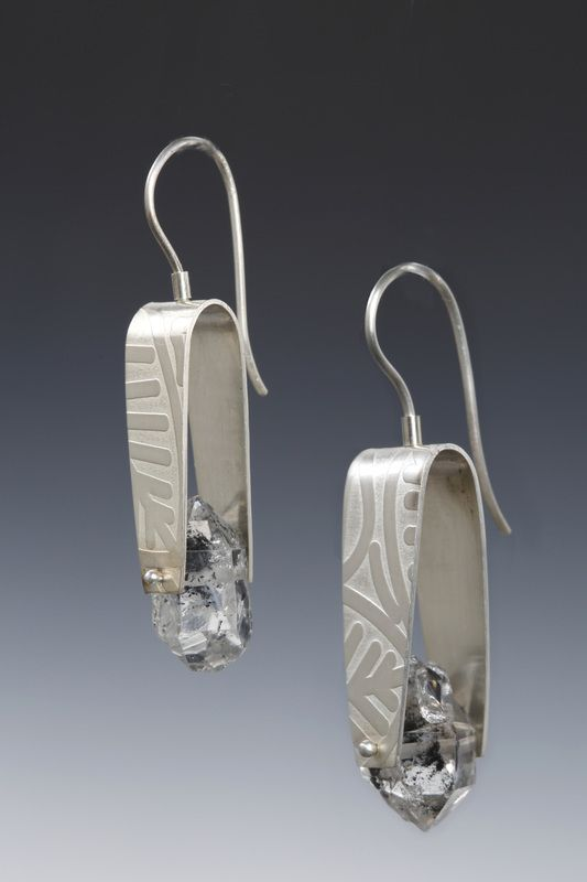 Lona Northener Earrings.  Sterling, Herkimer Diamonds.
