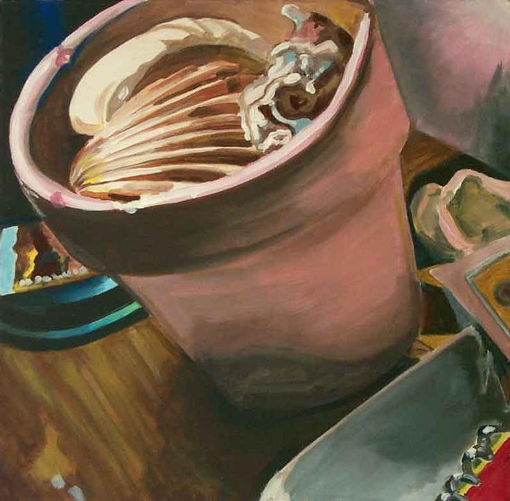 acrilico su tavola, 50x50, conchiglia, 2002