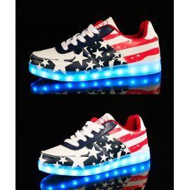 Étoile Motif Bleu Chaussures 7 Changement de couleur d'éclairage LED clignotant Enfants Garçon Sneakers avec USB pour Prom Party Q6yorXEpT