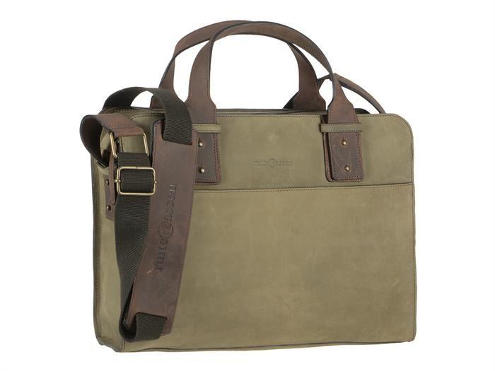 Kennedytasche Leder Businesstasche Aktentasche Damen Herren LEISURE oliv grün mit ranger Leder Besatz