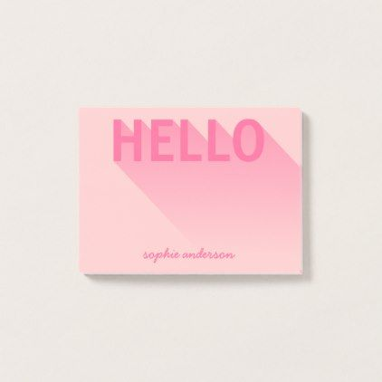 Modern Typography Pink Hello Post-it Notes - stylish gifts unique cool diy customize