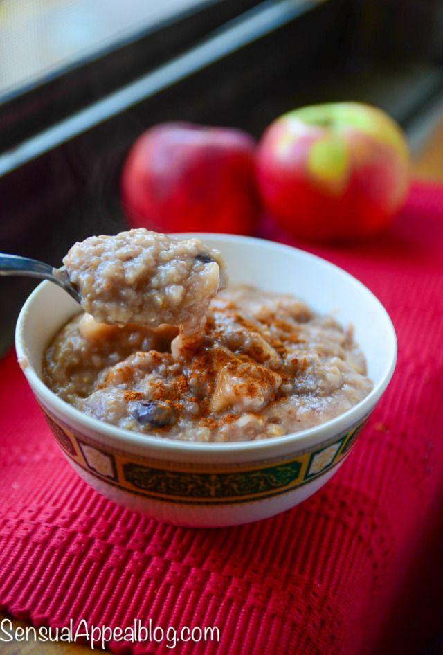 Slow Cooker Apple Pie Steel Cut Oats by SensualAppealBlog.com by ...