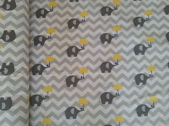 Gray elephant fabric cotton baby fabric gray chevron fabric nursery fabric cotton fabric patchwork fabric quilting fabric safari fabric