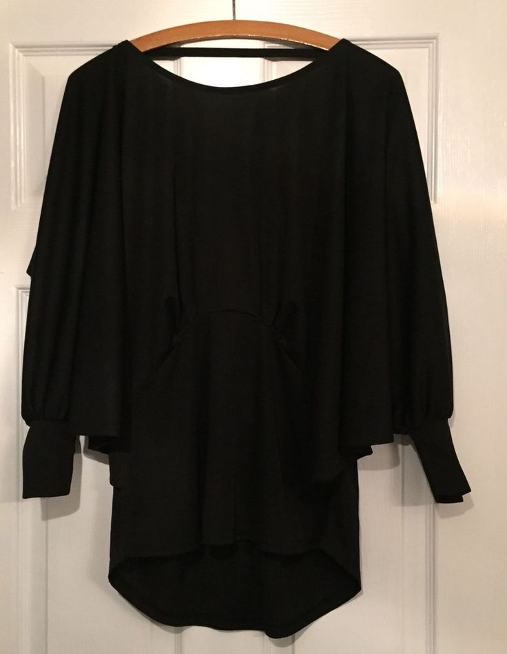 Next Black Batwing Top with V back size 12 pre-loved  | eBay