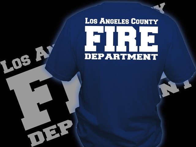 Traditional style LA County Fire Dept duty shirt  Ax Graphics Firefighter tshirt Designs