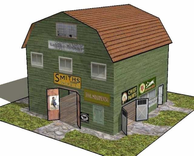 Simple kankakee hardware store free building paper model for Build a house free online