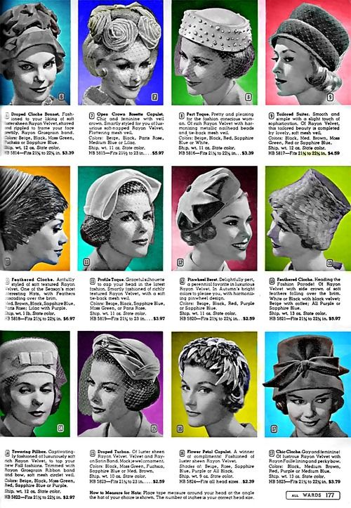 1950s ad for Wards ladies' hats