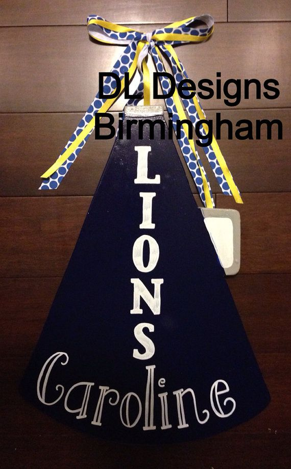 Cheerleading megaphone door hanger- any team on Etsy, $35.00