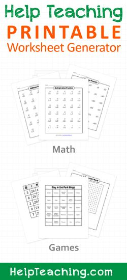 Free Printable Math Worksheet (Addition, Subtraction, Multiplication) and Game (Bingo Cards, Word Search) Generators