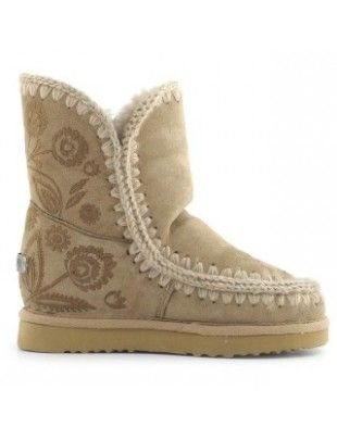 Mou Eskimo Inner Wedge With Studs & Crystals Short Boots Sage #MOU #mououtlet #mouboots #wedgeboots