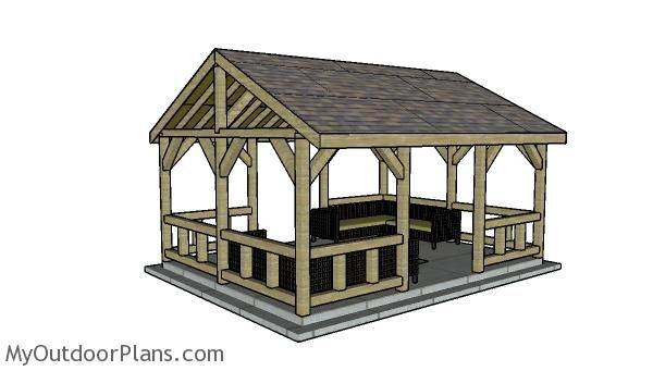 15x20 Pavilion Plans Myoutdoorplans Free Woodworking Plans And Projects Diy Shed Wooden Playhouse Pergola Bbq In 2020 Pavilion Plans Gazebo Roof Pergola