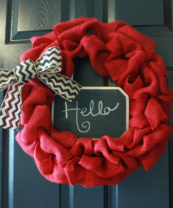 Red Burlap Wreath with Chevron Burlap Bow and by BoaAndBoo on Etsy, $60.00
