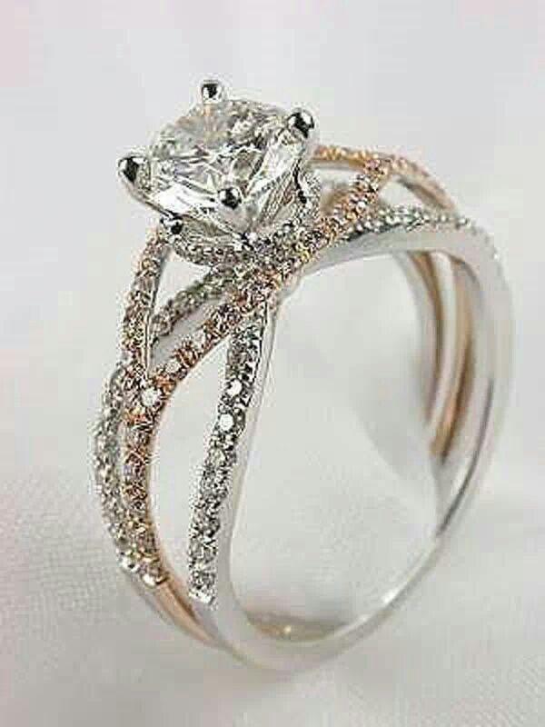 Two Toned Criss Cross Diamond Ring