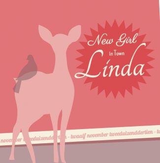 Geboortekaartje Linda | Blijkaartje.nl Retro, oranje, hert, meisje