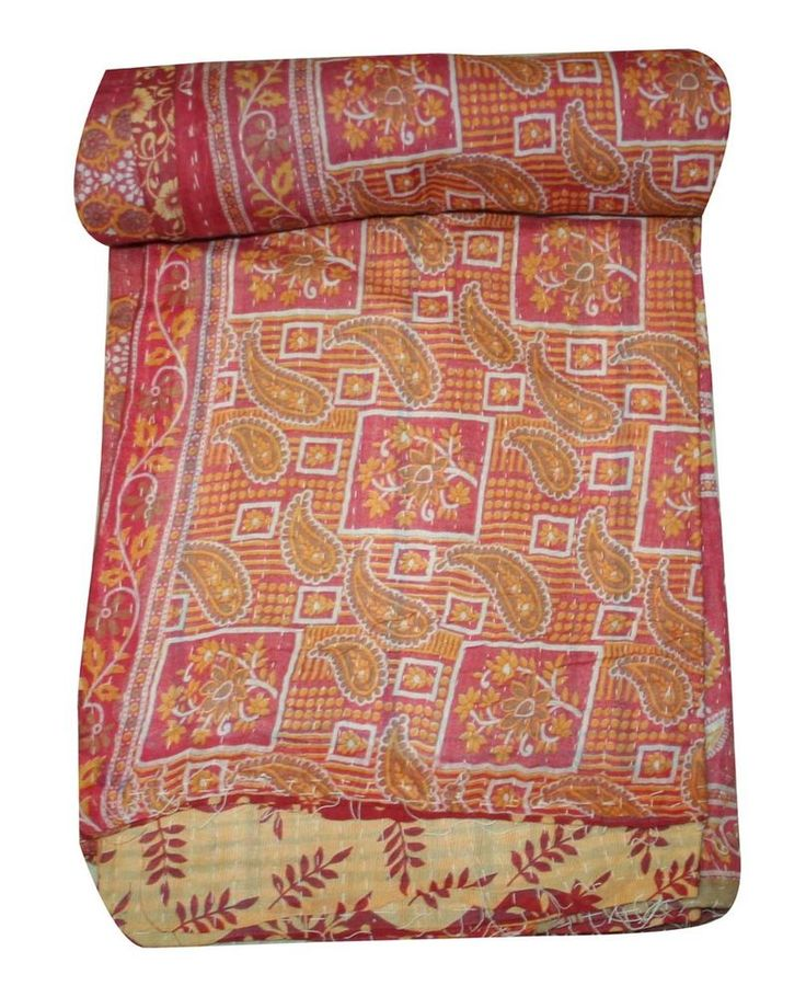 Vintage Kantha Quilt Gudri Reversible Throw Ralli Bedspread Bedding Twin Size  #Unbranded #ArtDecoStyle