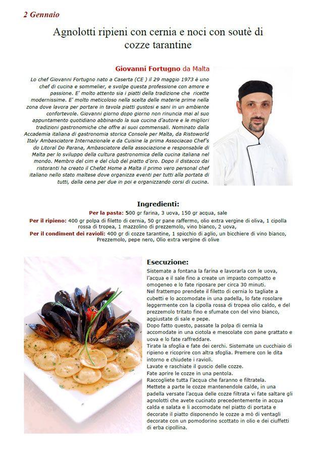 """La Ricetta di oggi 2 Gennaio dall'archivio di Ricette 3.0 di spaghettitaliani.com - Agnolotti ripieni con cernia e noci con soutè di cozze tarantine ( Primi - Tortellini, ravioli ) inserita da Giovanni Fortugno - La ricetta si trova anche nel Libro """"Una Ricetta al Giorno... ...leva il medico di torno"""" prodotto dall'Associazione Spaghettitaliani, per acquistarlo: http://www.spaghettitaliani.com/Ricette2013/PrenotaLibro.php"""