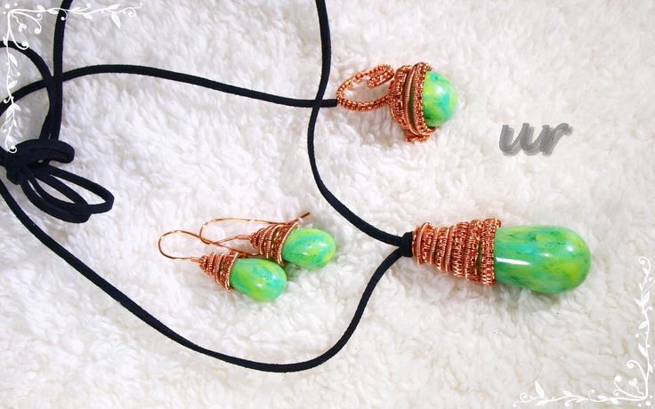 Jade drops - polymer clay and copper wire