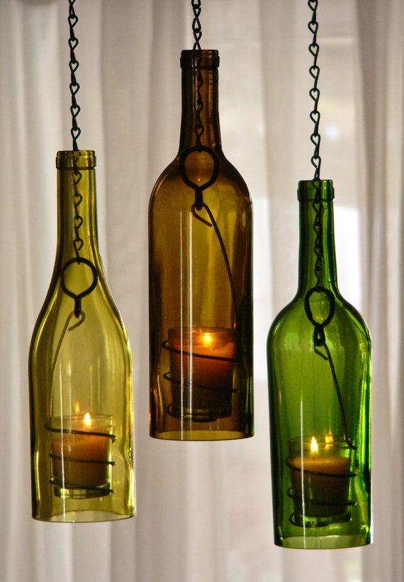 Three Glass Wine Bottle Hanging Hurricane Lanterns Green Olive Gold