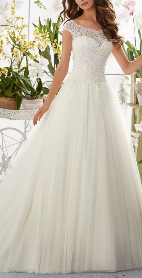 Amazing Beauty Bridal 2016 Simple Long A-Line Cap Sleeve Train Lace Wedding Dresses. Mor…