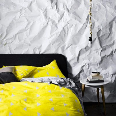 Triangles Bright Yellow Queen bed quilt cover