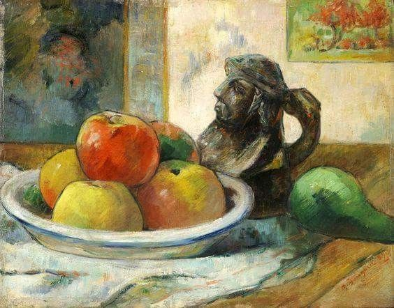 Paul Gauguin I Still Life with Apples, a Pear, and a Ceramic Portrait Jug. Dimensions: w36.2 x h28.6 cm