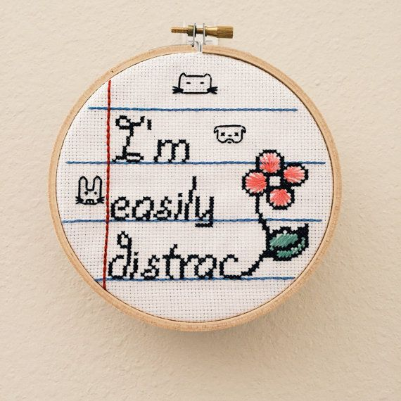 Ready to Ship - Notebook Series - Distracted | Cool Cross Stitch | Unique Gift…