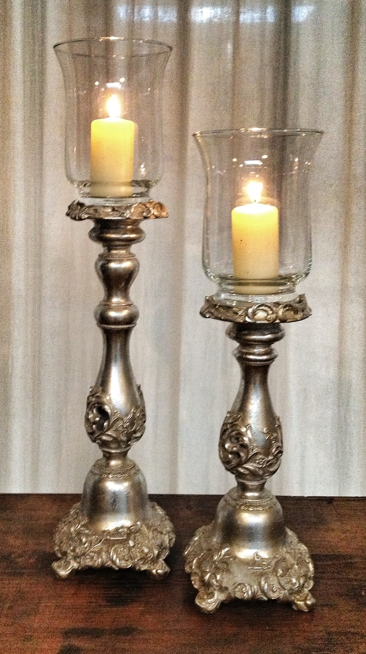 Silvered candleatick
