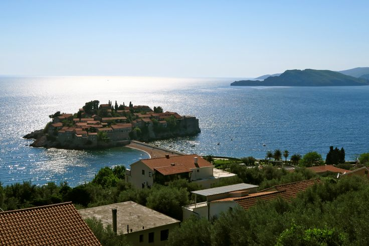 Sveti Stefan, a tiny, picturesque island connected to the mainland by a small causeway. It's one of the most famous sights in Montenegro