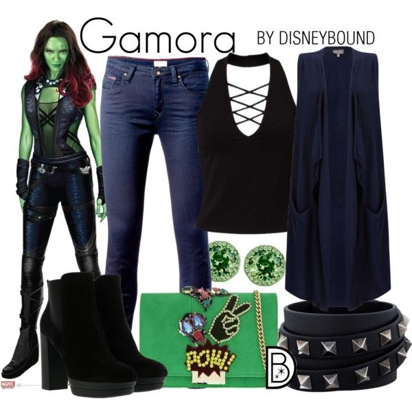 Gamora by leslieakay on Polyvore featuring Miss Selfridge, Phase Eight, Tommy Hilfiger, Hogan, GEDEBE, Valentino, Nina, disney and disneybound