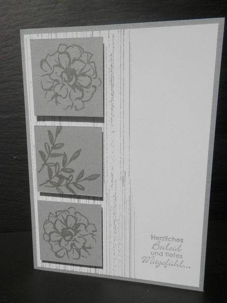 Beileidskarte mit Blumen - Selbstgebastelt mit Stampin up Produkten