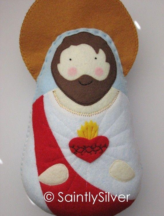 Large Sacred Heart of Jesus Felt Saint Softie by SaintlySilver