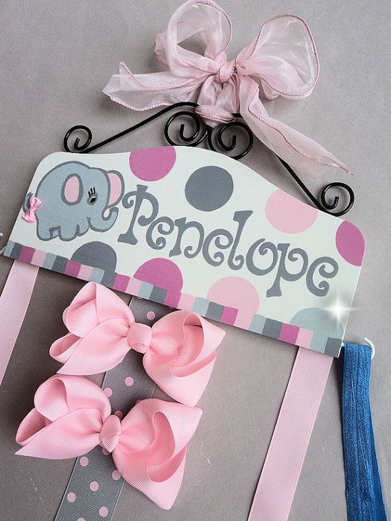 HAIR BOW HOLDER - Personalized with Elephant - Pink and Gray Cute grey  hairbow holders