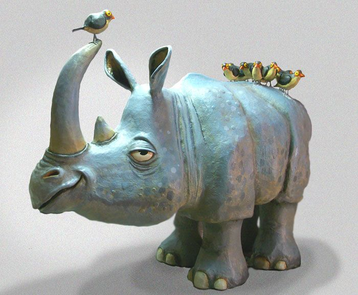 The Ultimate Paper Mache - Rhino and birds, humor!