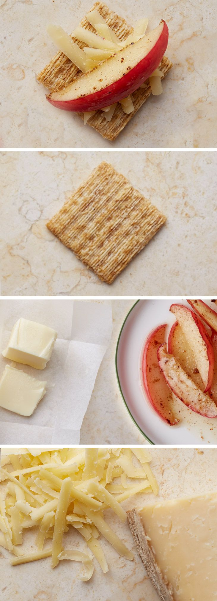 We're all about pairing unexpected ingredients this year. And this is one of our favorites—a twist on the classic apple pie. Top a Triscuit with shredded white cheddar cheese and apples caramelized in butter and brown sugar. Place under the broiler for 5 minutes or until melted. Enjoy as a quick anytime snack or a not so sweet ending to a meal. The bupplechedscuit. For more snacking inspiration, check out our Triscuit boards.