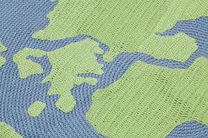 Image of World map crochet rug
