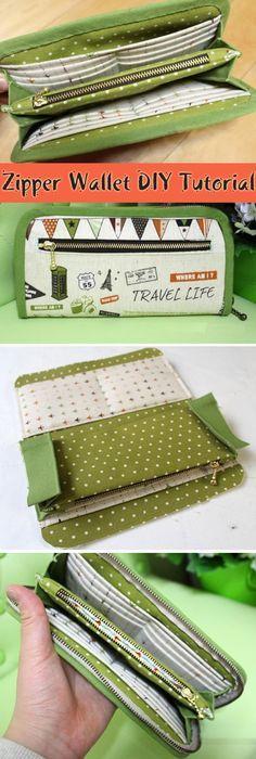 DIY Fabric Wallet for Women Picture Tutorial. ~ Шьём кошелек - портмоне. http://www.handmadiya.com/2015/09/zipper-wallet-diy-tutorial.html