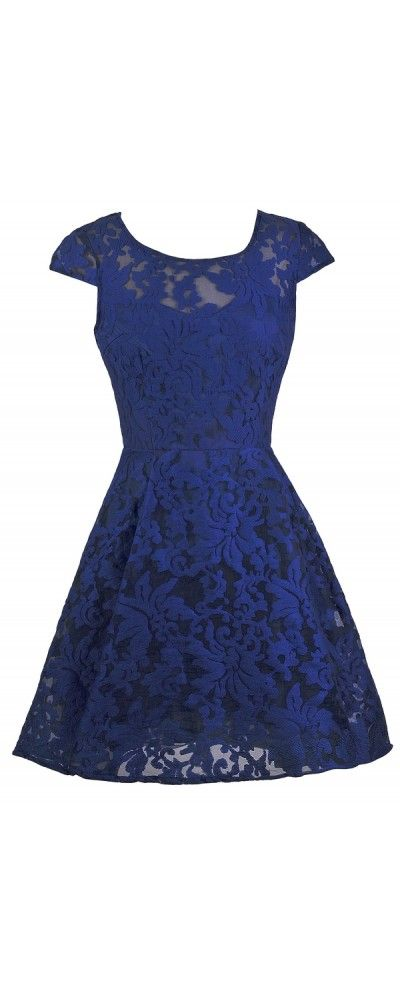 Lily Boutique Friendly Flourish Capsleeve A-Line Dress in Blue, $42 Bright Blue Capsleeve A-Line Dress, Bright Blue Bridesmaid Dress, Royal Blue Bridesmaid Dress, Royal Blue Embroidered Dress www.lilyboutique.com