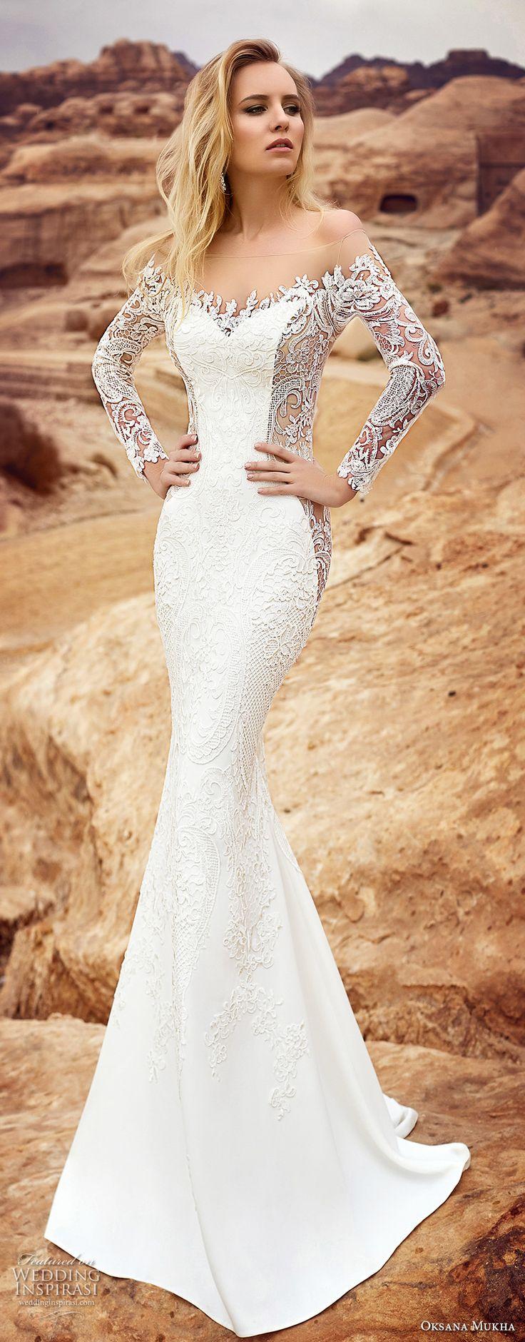 oksana mukha 2018 bridal long sleeves off the shoulder sweetheart neckline full embellishment elegant glamorous fit and flare wedding dress sheer lace back sweep train (armadea) mv
